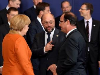 Merkel i Hollande després de l'enganxada de dijous.