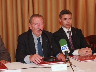 David Moner, segon per l'esquerra, en la roda de premsa d'ahir a Girona Foto:MANEL LLADÓ