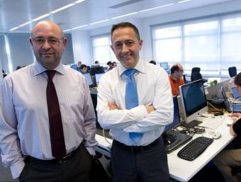 David Schkot, del departament comercial i Xavier Monzó, director d'ICA a Barcelona.  Foto:ALBERT SALAMÉ
