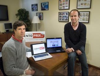Javier Sánchez-Marco, a l'esquerra de la imatge, i Fernando Le Monnier són els artífexs d'Eventoprix.es.  Foto:JOSEP LOSADA