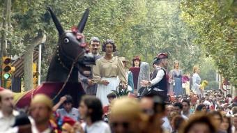 El cercavila de gegants, en una imatge d'una edició passada de la festa gran de Sabadell. Foto:ARXIU