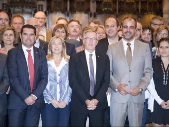 La vicepresidenta, Joana Ortega, amb el Consell de Governs Locals. Foto:ARXIU