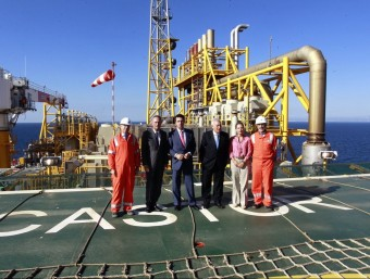 Visita del president valencià, Alberto Fabra, i tres ministres a la planta d'emmagatzematge de gas del projecte Castor.