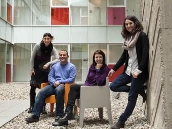 D'esquerra a dreta, Calafell, Viciana, Fonolleda i Banqué, a la UAB.  Foto:JOSEP LOSADA
