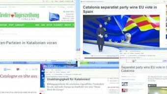 Portada on line dels mitjans de la premsa internacional que ahir van recollir, enmig de la sorpresa per alguns periodistes, la victòria d'ERC a Catalunya Foto:ELPUNTAVUI