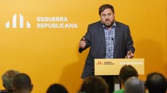 El president d'ERC, Oriol Junqueras, aquest dissabte al Consell Nacional de la formació Foto:ORIOL DURAN