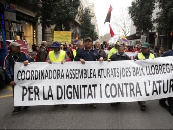 Manifestants del Baix Llobregat i el Vallès contra l'atur.  Foto:ARXIU