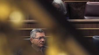 El ministre espanyol de Justícia, Alberto Ruiz Gallardón, aquest dijous al ple Congrés dels Diputats que ha aprovat l'aforament de Joan Carles I Foto:EFE