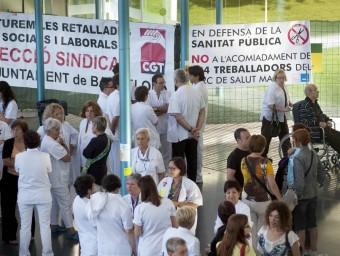 Jornades de vaga a l'Hospital del Mar de Barcelona per demanar la fi de les retallades.  Foto:JOSEP LOSADA