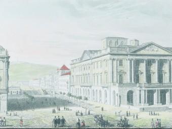 La Llotja i el passeig d'Isabel II en un gravat del 1842.