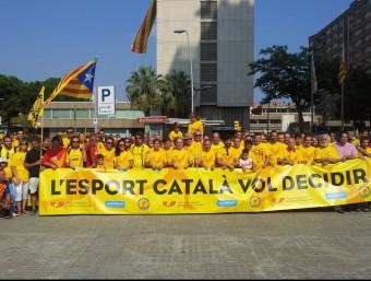 Una bona part del grup representatiu de l'esport català, que va reivindicar el dret a decidir Foto:PLATAFORMA PROSELECCIONS CATALANES