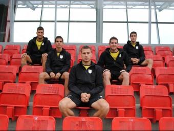 Padilla, Guzmán, Cano, Nils i Putxi , ahir en les instal·lacions esportives en les quals està concentrada la selecció Foto:ÁLVARO MONTOLIU / FCF