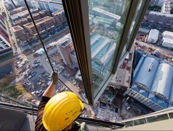 Operari a les obres de construcció de la nova seu del Banc Central Europeu a Frankfurt.  Foto:BCE