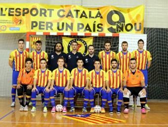Els jugadors de la selecció, ahir a Cadaqués. Foto:FCFS