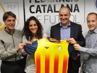 Lluís Cortés i Natàlia Arroyo, al costat del president de la FCF Andreu Subies i el director esportiu Marc Vives Foto:FCF