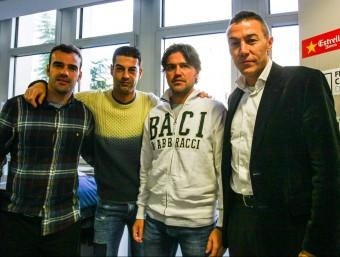 El cos tècnic de la selecció –Puigdollers, Gerard, Roger i Aguado–, dilluns a la seu de la FCF Foto:ÀLEX GALLARDO / FCF