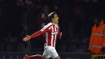 Bojan celebra el golàs que va marcar, instants abans de lesionar-se Foto:AFP