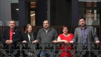 García, Sanz, Cerdà,Peris i Blanco en la presentació de la coalició. Foto:ACN