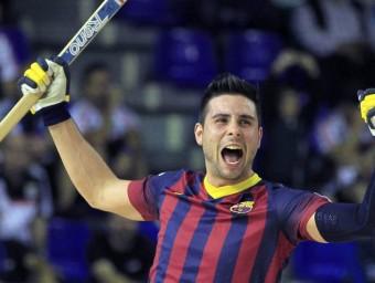 Marc Torra celebra un gol en la final de la lliga europea de l'any passat al Palau Blaugrana Foto:EFE / ANDREU DALMAU