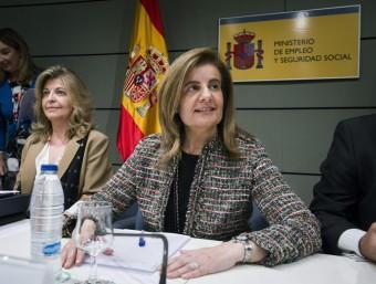 La ministra d'Ocupació, Fátima Báñez, en la conferència sectorial del 13 d'abril.  Foto:EFE