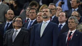 Felip VI, al Camp Nou, durant la final de la copa del Rei. Foto:EFE
