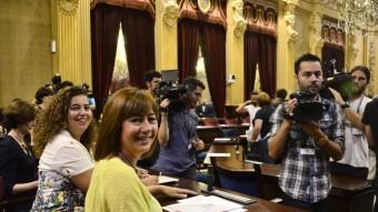 Francina Armengol, ahir, de verd pàlid, en la primera sessió del debat d'investidura Foto:EFE