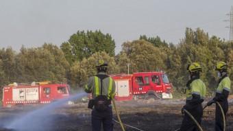 Les flames van calcinar 1.100 m² a Montfullà, al terme de Bescanó. Foto:JORDI RIBOT (ICONNA)