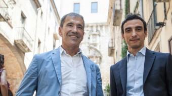 Jean-Louis Dutaret i Samir Boudjemaa, ahir a Girona. Foto:JONÁS FORCHINI