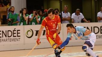 Una jugada de la final enter Espanya i l'Argentina amb Jordi Bargalló i Reinaldo Garcia Foto:RFEP