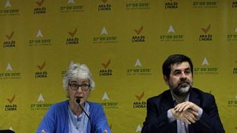 Els presidents d'Òmnium Cultural, Muriel Casals, i de l'ANC, Jordi Sànchez, presenten aquest dijous la mobilització del propera Diada a Barcelona Foto:ACN