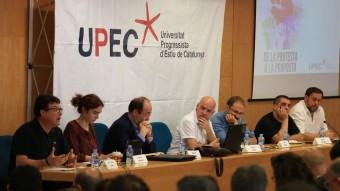 La UPEC va celebrar ahir un debat amb els líders politics dels partits d'esquerres: Nuet, Ubasart, Iceta, Herrera, Arrufat i Junqueras Foto:ANDREU PUIG