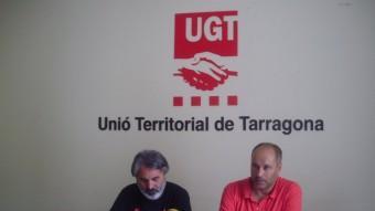 Paco López i Jordi Salvadó, van anunciar que la UGT manté la vaga de dissabte Foto:INFOCAMP
