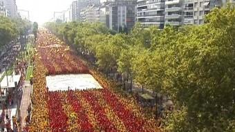 Imatge de la Gran Via de Barcelona l'últim 11 de setembre