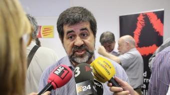 El president de l'ANC, Jordi Sánchez, aquest divendres en una atenció als mitjans Foto:ACN