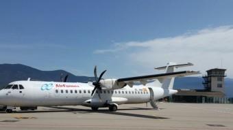Un avió d'Air Nostrum, al servei de Swiftair, en proves a l'aeroport d'Andorra-la Seu d'Urgell Foto:ACN
