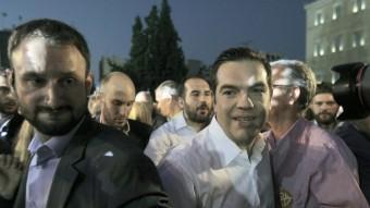 El líder de Syriza, Alexis Tsipras, aquest divendres a l'últim acte de la campanya del no, a la plaça Syntagma d'Atenes Foto:EFE
