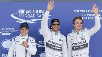 Felipe Massa, Lewis Hamilton i Nico Rosberg en el circuit de Silverstone