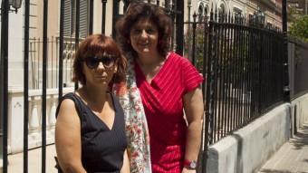 Núria Cuadrado (a l'esquerra) i Marta Monedero, divendres passat a Barcelona. Foto:JOSÉ CARLOS LEÓN