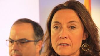 Mercè Conesa i Jordi Turull, en roda de premsa aquest dilluns Foto:ACN