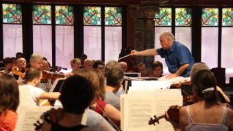 Daniel Barenboim ahir al Palau durant un assaig amb l'Staatskapelle Berlin. Al vespre va inaugurar la temporada Palau 100 Foto:ACN