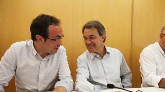 Josep Rull, Artur Mas i Lluís Corominas, ahir, en l'executiva de Convergència Foto:ELISABETH MAGRE