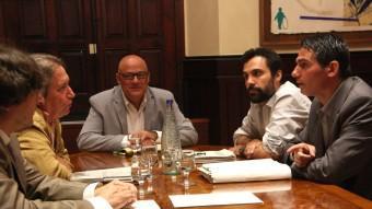 Diputats del PSC, ICV, CiU i ERC ahir en l'ultima ponència de la llei electoral Foto:ACN