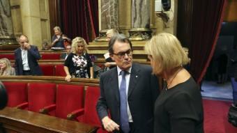 El president de la Generalitat, Artur Mas, i la presidenta del Parlament, Núria de Gispert, ahir QUIM PUIG