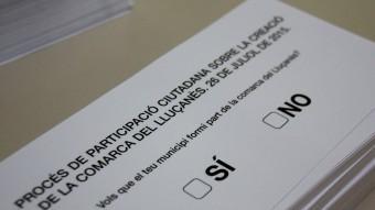 La papereta que es troben els ciutadans del Lluçanès aquest diumenge als locals de votació Foto:ACN