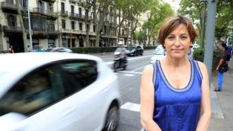 Carme Forcadell, a la Gran Via de Barcelona andreu puig