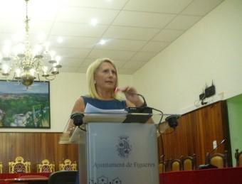 Maria Àngels Olmedo va comparèixer ahir a la sala de plens de Figueres Foto:E. C