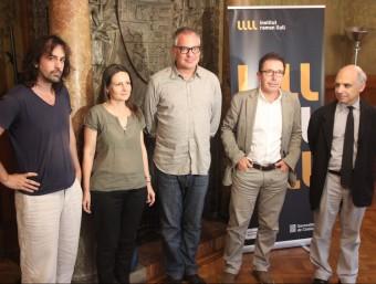 Isaki Lacuesta, Jelena Prokopljevic i Jaume Prat, amb el director del Llull, Àlex Susanna, i el Coac, Lluís-Xavier Comeron Foto:IRL