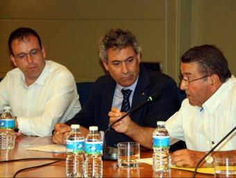 L'alcalde de Mollerussa, Marc Solsona; el conseller d'Agricultura, Jordi Ciuraneta; i el president de la Comunitat de Regants dels Canals d'Urgell, Ramon Carné.