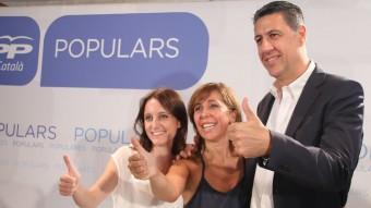 Xavier García Albiol, amb Andrea Levy i Alícia Sánchez-Camacho, ahir al migdia europa press