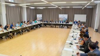 Una trentena de persones han participat en la reunió celebrada a la Diputació de Lleida entre Joan Reñé, presidents de consells comarcals i alcaldes de capitals de comarca. ACN